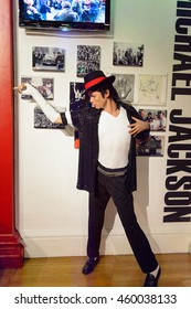 LONDON, ENGLAND - JULY 22, 2016: Michael Jackson, king of pop music, Madame Tussauds wax museum. It is a major tourist attraction in London