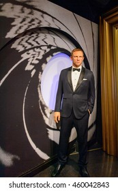 LONDON, ENGLAND - JULY 22, 2016: Daniel Craig Madame Tussauds wax museum. It is a major tourist attraction in London