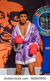 LONDON, ENGLAND - JULY 22, 2016: Boxer Muhammad Ali, Sport section, Madame Tussauds wax museum. It is a major tourist attraction in London