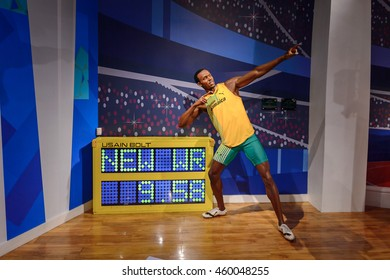 LONDON, ENGLAND - JULY 22, 2016: Jamaican runner Usaine Bolt,  Madame Tussauds wax museum. It is a major tourist attraction in London