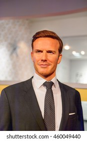 LONDON, ENGLAND - JULY 22, 2016: David Beckham, English football player, Madame Tussauds wax museum. It is a major tourist attraction in London