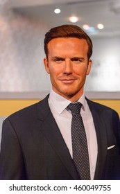 LONDON, ENGLAND - JULY 22, 2016: David Beckham, Madame Tussauds wax museum. It is a major tourist attraction in London
