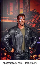 LONDON, ENGLAND - JULY 22, 2016: Arnold Schwarzenegger as the Terminator, Madame Tussauds wax museum. It is a major tourist attraction in London
