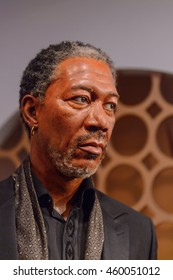 LONDON, ENGLAND - JULY 22, 2016: Morgan Freeman, American actor, Madame Tussauds wax museum. It is a major tourist attraction in London