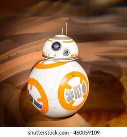 LONDON, ENGLAND - JULY 22, 2016: BB-8 at the Star Wars area, Madame Tussauds wax museum. It is a major tourist attraction in London