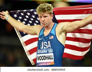 LONDON ENGLAND - July 22, 2017: Hunter Wooodhall (USA) poses photo for the press after the race of Men's 200M T43 Final during World Para Athletics Championships London 2017 at London Stadium.