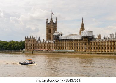 LONDON, ENGLAND -  JULY 24, 2016: Palace of Westminster,  house of the Parliament of the United Kingdom. London, England. UNESCO world Heritage