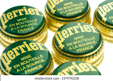 London, England - July 25, 2006: Perrier Bottle Tops, Perrier is a French brand of natural mineral water from it's source in Vergeze.