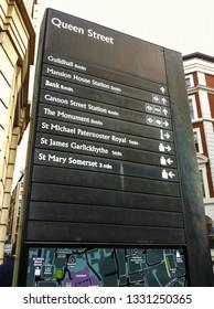 LONDON, ENGLAND - JULY 25 2018: Queen Street destination information signage in London, UK