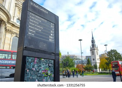 LONDON, ENGLAND - JULY 25 2018: Saint Paul's Cathedral destination information signage in London, United Kingdom
