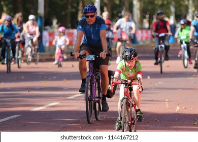 London, England, July 28th 2018: Young cyclist racing at the Prudential RideLondon Freecycle.