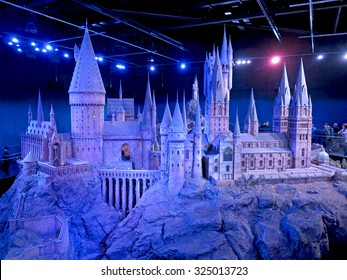 LONDON, ENGLAND - July 30, 2012 - A scale model of Hogwarts at The Warner Bros. Studio Tour - Making of Harry Potter.
