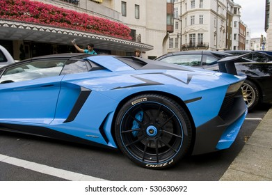 LONDON, ENGLAND - JULY 30: Lamborghini Aventador SV outside the Dorchester Hotel on July 30, 2016 in London. One of the best places in the world to spot super cars, especially after Ramadan.