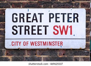 LONDON, ENGLAND - JULY 8, 2016: Great Peter Street plate, Westminster, London