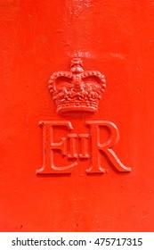 LONDON, ENGLAND - JULY 8, 2016: EIIR symbol on London post box.