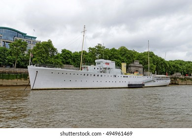 LONDON, ENGLAND - JULY 8, 2016: HQS Wellington headquarters of the Honourable Company of Master Mariners. Built as a Grimsby class anti submarine sloop, moored on the Thames since 1948.