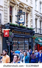 LONDON, ENGLAND - JULY 8, 2016: Princess of Wales pub on Villiers Street near Charing Cross Underground Station City of Westminster London England UK
