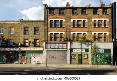 London, England - July 9, 2014: Decaying buildings on the Old Kent Road, a redevelopment opportunity area in inner London.