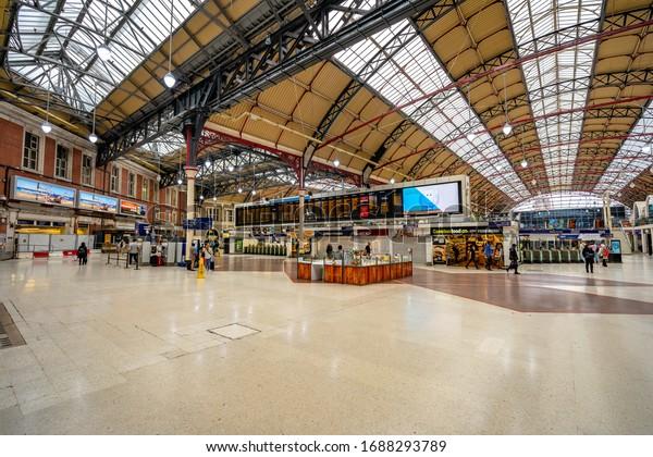 London, England - Jun 10, 2018: Inside the Victoria train station