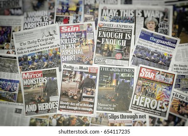 London, England - June 03, 2017: British newspaper front pages reporting on the Terrorist attack on London Bridge and Borough Market in which 7 people died.