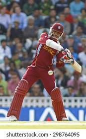 LONDON, ENGLAND - June 07 2013: West Indies Sunil Narine batting during the ICC Champions Trophy cricket match between Pakistan and The West Indies at The Oval Cricket Ground.