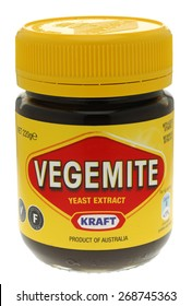 London, England - June 09, 2010: Jar of Vegemite is Australian food paste made from leftover brewers' yeast extract and very dark in colour,