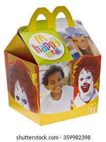 London, England - June 09, 2010: McDonald's Happy Meal for Kids to Take Away,  The Happy Meal which includes fries, burger and a toy has been sold at McDonald's since 1977.