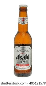 London, England - June 09, 2010: Bottle of Asahi Lager, Made by Asahi Breweries, Ltd in Japan since 1889.