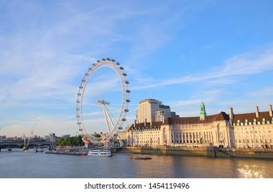 LONDON ENGLAND - JUNE 1, 2019: Thames river cityscape London England