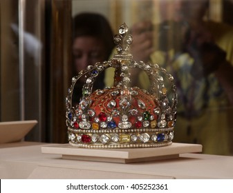 LONDON, ENGLAND - JUNE 12, 2015: The British Crown Jewels on display at the Tower of London. The jewels were moved from Westminster Abbey to the Tower of London due to a series of thefts.