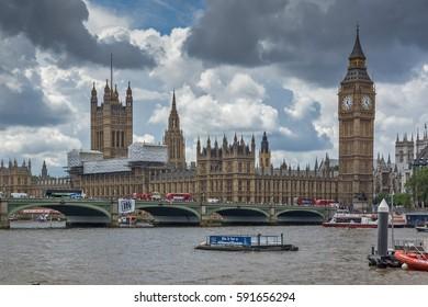 LONDON, ENGLAND - JUNE 15 2016:  Westminster Bridge and Big Ben, London, England, United Kingdom