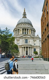 LONDON, ENGLAND - JUNE 15, 2016:  Amazing view of St. Paul Cathedral in London, Great Britain