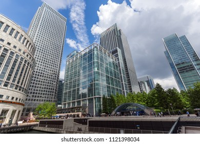 LONDON, ENGLAND - JUNE 17, 2016: Business building and skyscraper in Canary Wharf, London, England, Great Britain