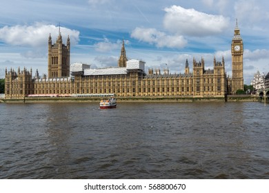 LONDON, ENGLAND - JUNE 19 2016: Cityscape of Westminster Palace and Thames River, London, England, United Kingdom