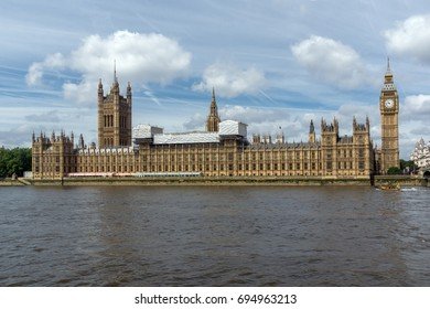 LONDON, ENGLAND - JUNE 19 2016: Cityscape of Westminster Palace, Thames River and Big Ben, London, England, United Kingdom