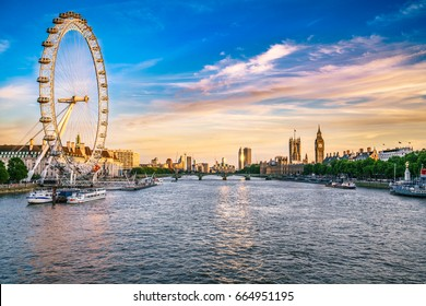 LONDON, ENGLAND - JUNE 20, 2017: Skyline panorama of river Thames with London eye and Big Ben