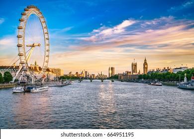 LONDON, ENGLAND - JUNE 20, 2017: Panorama of London landmarks at sunset
