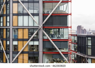 London, England - June 2016. Life in a glass box, a modern apartment near the Tate Modern Museum.