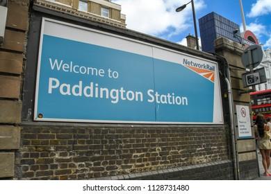 LONDON, ENGLAND - JUNE 2018: Large sign outside London Paddington railway station