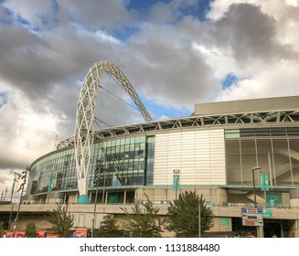LONDON, ENGLAND - JUNE 2018: Wide angle view of Wembley Stadium in north London showing the famous steel arch which spans the stadium