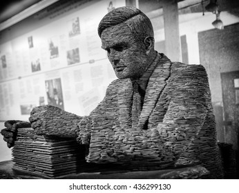 London, England - June 21, 2015: Slate statue of Mathematician Alan Turing at Bletchley Park, Bletchley, Milton Keynes, Britain