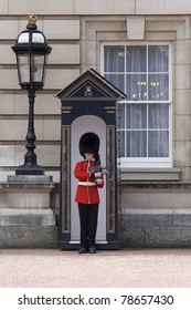 LONDON, ENGLAND- JUNE 21: Sentry of the Grenadier Guards posted outside of Buckingham Palace on June 21, 2009 in London, United Kingdom. The Grenadier Guards traces its lineage back to 1656.