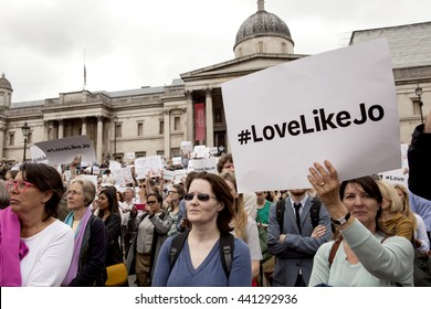 London, England - June 22, 2016: Jo Cox Memorial. Jo Cox, the MP that was brutally murdered last week would have turned 42 today. A memorial was held for her in Trafalgar Square in London.