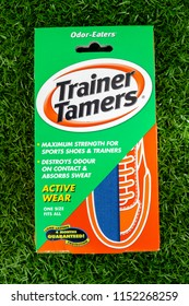 London, England - June 22, 2018: Pack of Trainer Tamers for destroying odours in sports shoes, Made by Odor-Eaters in England.