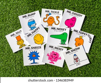 London, England - June 22, 2018: Selection of Mr Men children's books written by Roger Hargreaves, There are 52 different character books in the series