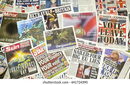 London, England - June 23, 2016: British newspaper front pages reporting on the eve of the EU Referendum, London, Britain.