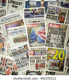 London, England - June 24, 2016: British newspaper front pages reporting on the day after the EU Referendum with Britain voting to leave The European Union.