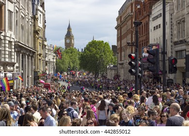 London, England - June 25, 2016: Crowded street on the occasion of the Pride in London Gay March in London, England on the 25th of June 2016.