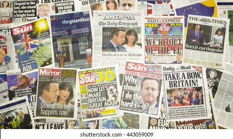 London, England - June 25, 2016: British newspaper front pages reporting that Prime Minister David Cameron resigned after the EU Referendum.