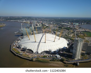 London, England - June 26, 2018: Aerial photograph of the O2 stadium in London, England on a sunny day.